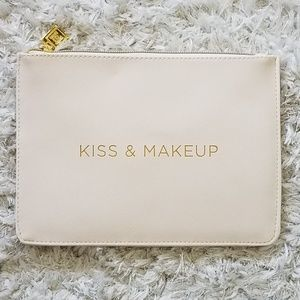 Ivory Cream Cosmetic Bag Gold Zip